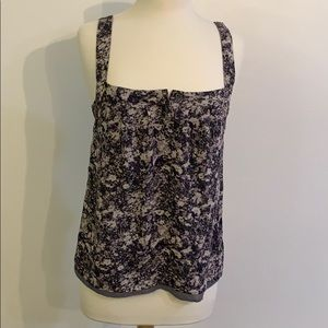 Banana Republic PurpleGray sleeveless silk blouse